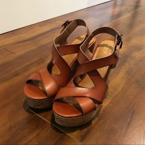 Mossimo Supply Co Brown Leather Wedges
